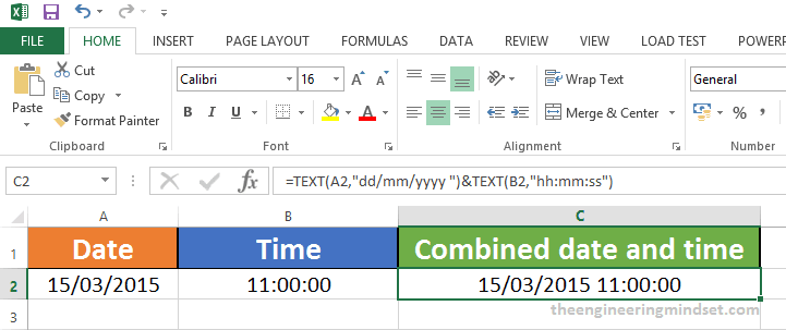 How to combine date and time cells in excel
