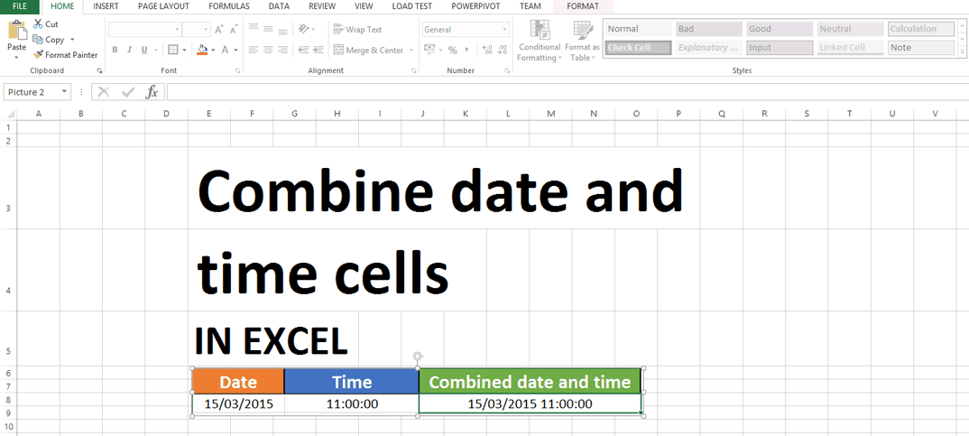 combine date and time cells in excel