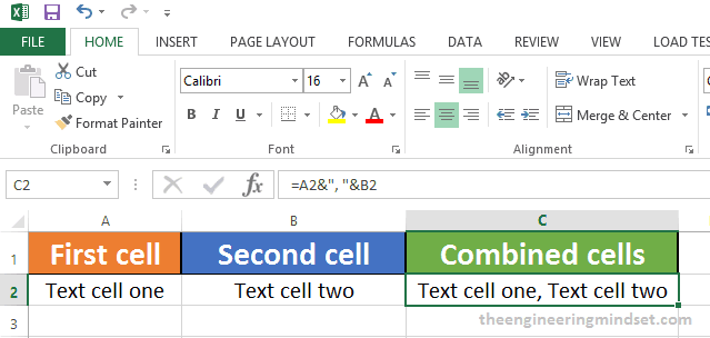 How to combine two cells in excel with a comma between