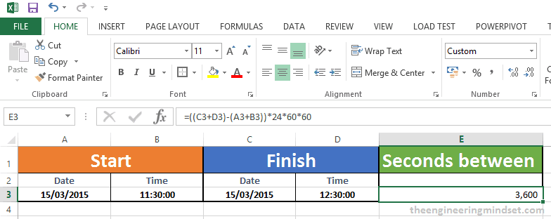 How to calculate the seconds between two dates and times in excel