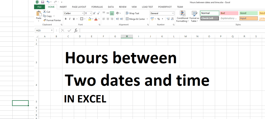 Hopw to calculate hours between two dates and times in excel