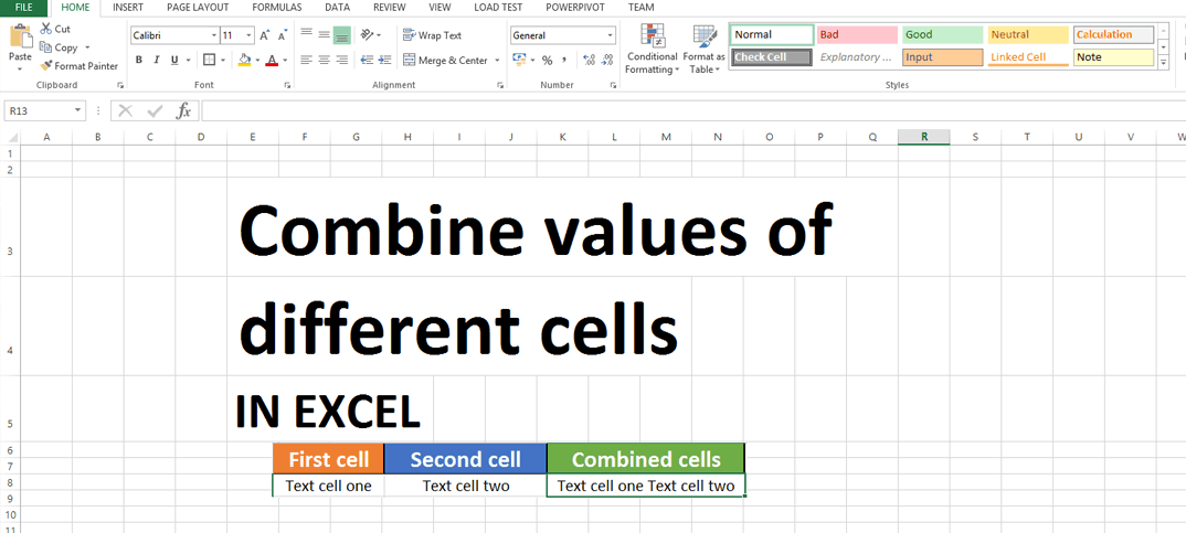 How to combined different cells in excel