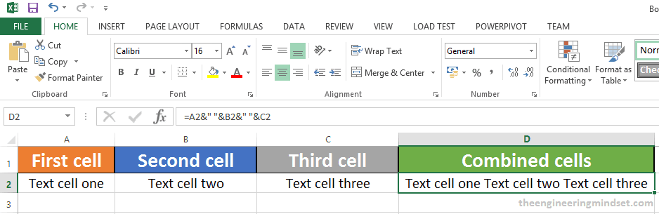How to combine multiple cells in excel