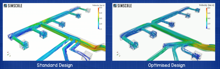 CFD ductwork design standard and optimised