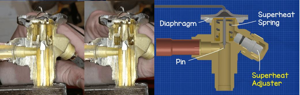 How to adjust superheat on expansion valve